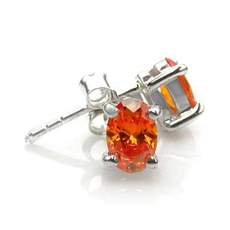Oval Shape Orange CZ 925 Sterling Silver Stud Earrings
