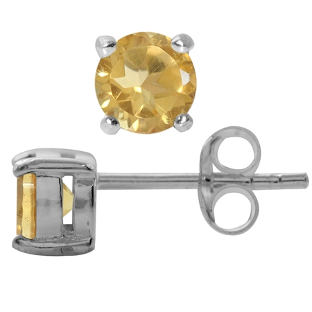 Petite Natural Round Shape Citrine 925 Sterling Silver Stud Earrings