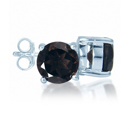 2.4ct. Natural Round Shape Smoky Quartz 925 Sterling Silver Stud Earrings