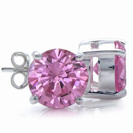 8MM Round Shape Pink Cubic Zirconia (CZ) 925 Sterling Silver Stud Earrings