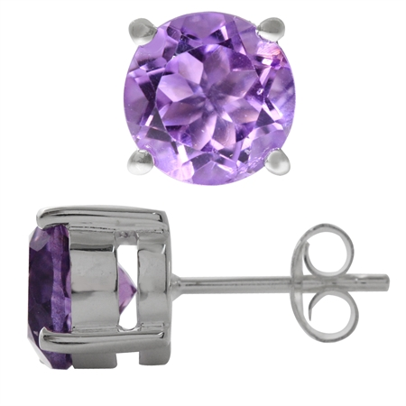 3.62ct. Natural Amethyst 925 Sterling Silver Stud Earrings