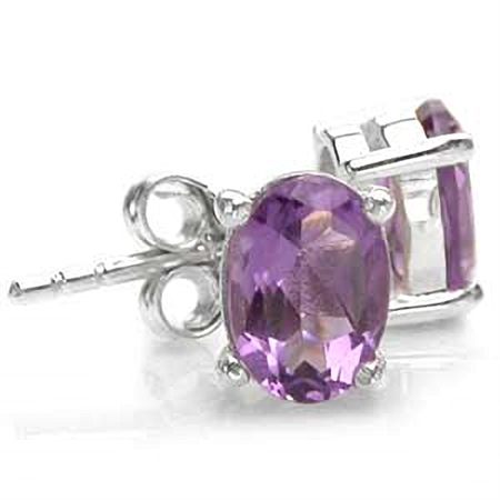 1.44ct. Natural February Birthstone Amethyst 925 Sterling Silver Stud Earrings