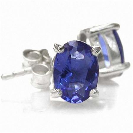 Oval Shape Tanzanite Blue Cubic Zirconia (CZ) 925 Sterling Silver Stud Earrings