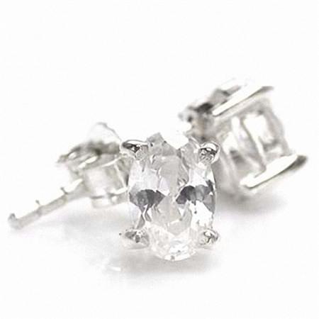 6x4MM Petite Oval Shape White CZ 925 Sterling Silver Stud Earrings