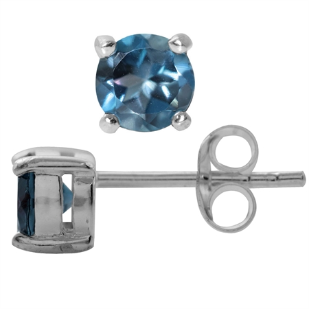1.2ct. Petite Genuine London Blue Topaz 925 Sterling Silver Stud Earrings
