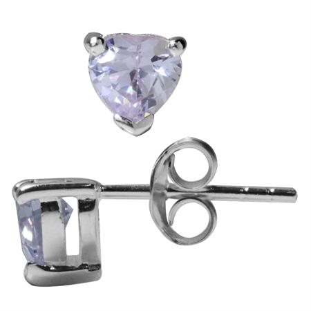 5MM Heart Lavender CZ 925 Sterling Silver Stud Earrings
