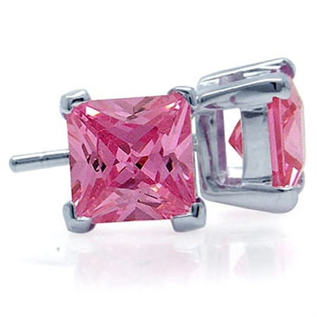 7MM Square Shape Pink Cubic Zirconia (CZ) 925 Sterling Silver Stud Earrings