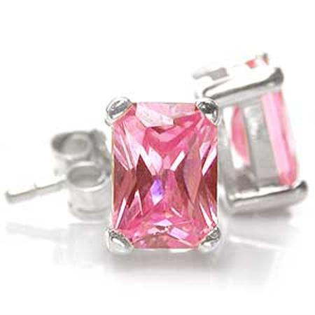Octagon Shape Pink CZ 925 Sterling Silver Stud Earrings