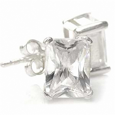 Octagon Shape White CZ 925 Sterling Silver Stud Earrings