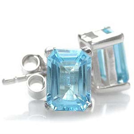 2.2ct. Genuine Octagon Shape Blue Topaz 925 Sterling Silver Stud Earrings