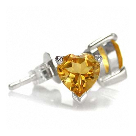 5MM Petite Natural Heart Shape Citrine White Gold Plated 925 Sterling Silver Stud Earrings