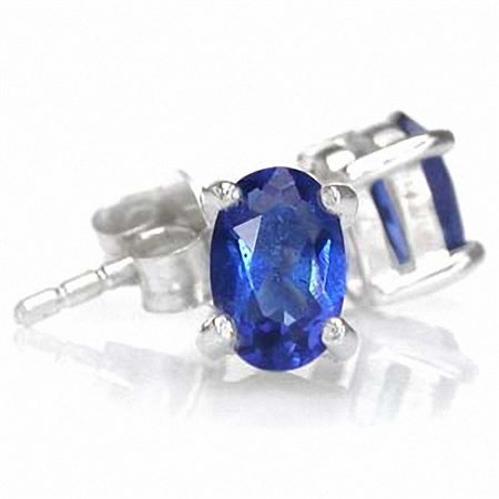 6x4MM Petite Oval Shape Sapphire Blue CZ Sterling Silver Stud Earrings