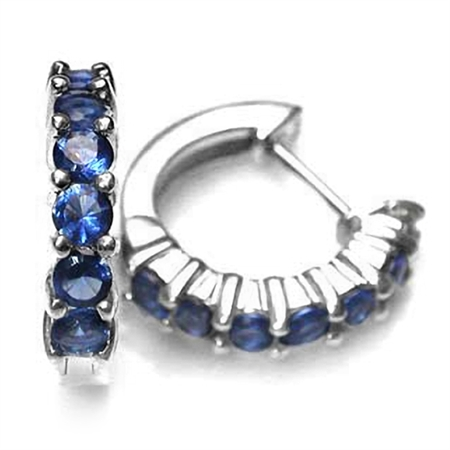 Sapphire Blue CZ White Gold Plated 925 Sterling Silver Journey Huggie Earrings