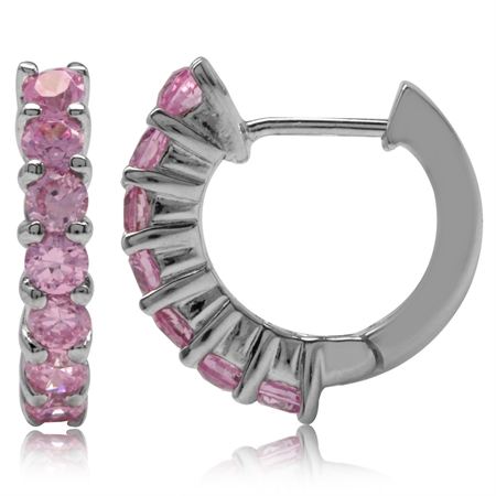 Pink CZ White Gold Plated 925 Sterling Silver Journey Huggie Earrings