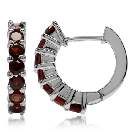 1.96ct. Natural Garnet White Gold Plated 925 Sterling Silver Journey Huggie Earrings