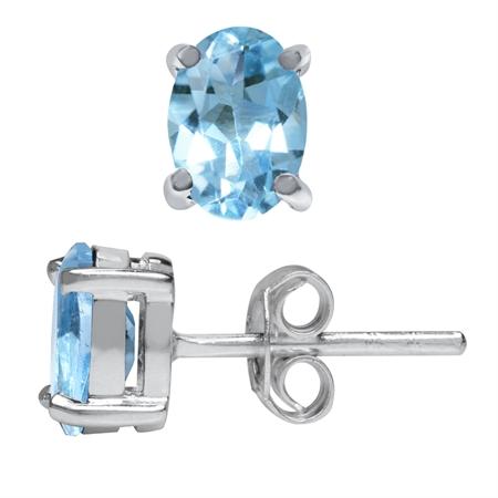 1.6ct. 7x5MM Genuine Oval Shape Blue Topaz 925 Sterling Silver Stud Earrings