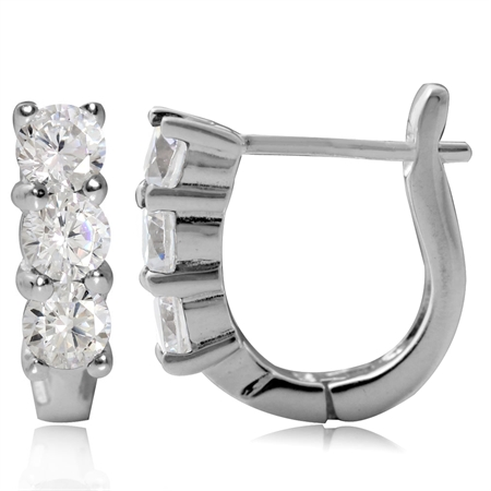 3-Stone White Cubic Zirconia (CZ) 925 Sterling Silver English Hook Earrings