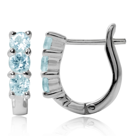 1.02ct. 3-Stone Genuine Blue Topaz White Gold Plated 925 Sterling Silver English Hook Earrings