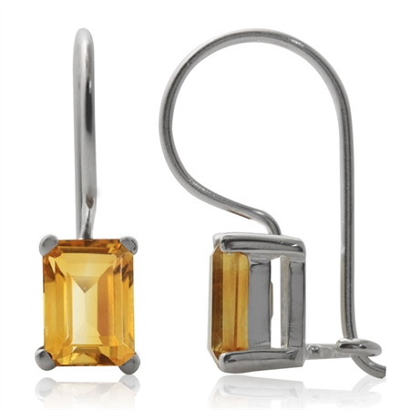 2.14ct. 7x5MM Natural Octagon Shape Citrine 925 Sterling Silver Hook Closure Earrings