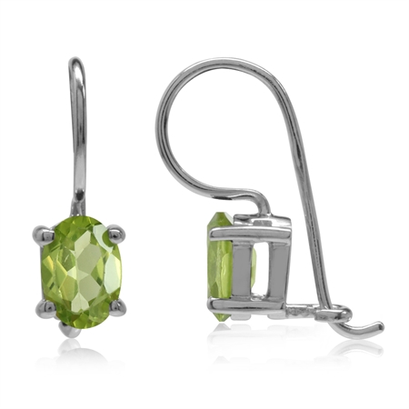 1.68ct. 7x5MM Natural Oval Shape Peridot White Gold Plated 925 Sterling Silver Hook Closure Earrings