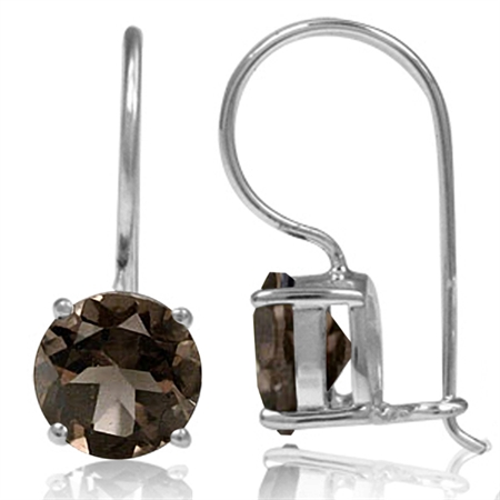 3.48ct. Natural Smoky Quartz 925 Sterling Silver Hook Closure Earrings