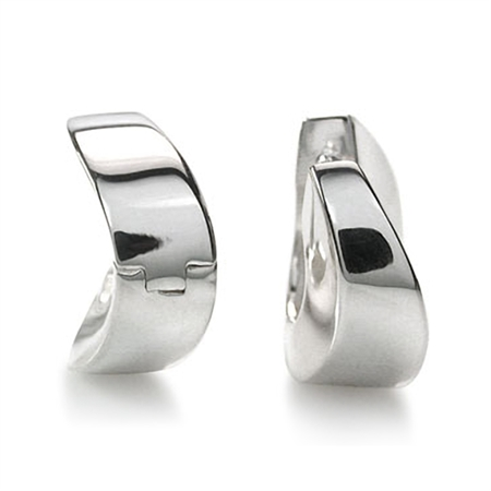Curvy 925 Sterling Silver Huggie/Hoop Earrings