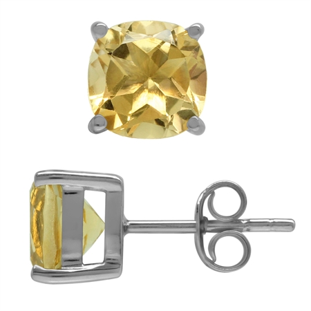 2.84ct. 7MM Natural Cushion Shape Citrine 925 Sterling Silver Stud Earrings