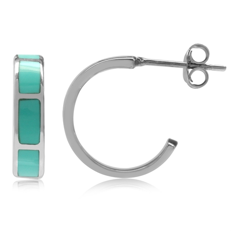 Created Green Turquoise Inlay White Gold Plated 925 Sterling Silver C-Hoop Earrings