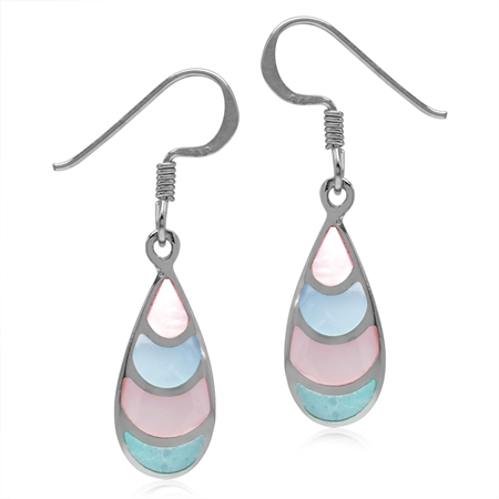 Pink, Blue & Green Mother Of Pearl Inlay White Gold Plated 925 Sterling Silver Drop Dangle Earrings
