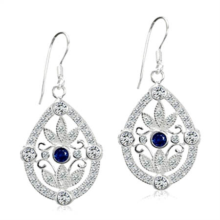 Sapphire Blue & White CZ 925 Sterling Silver Vintage Style Dangle Hook Earrings