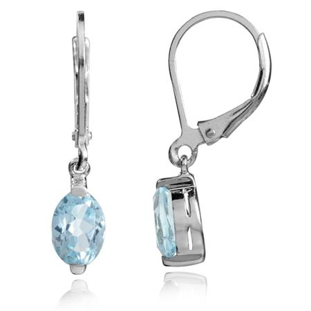2.16ct. 7x5MM Petite Genuine Sky Blue Topaz 925 Sterling Silver Leverback Dangle Earrings