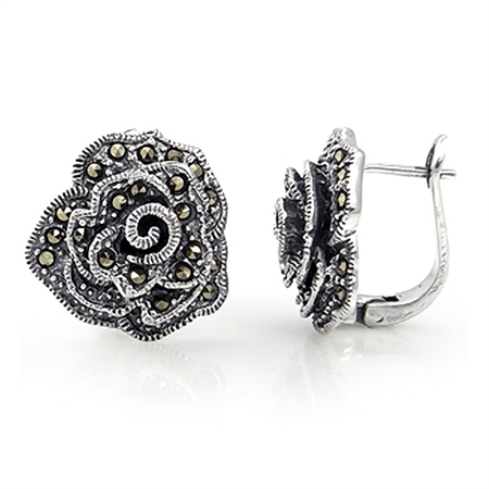 Marcasite Antique Finish 925 Sterling Silver Rose/Flower English Huggie/Hoop Earrings