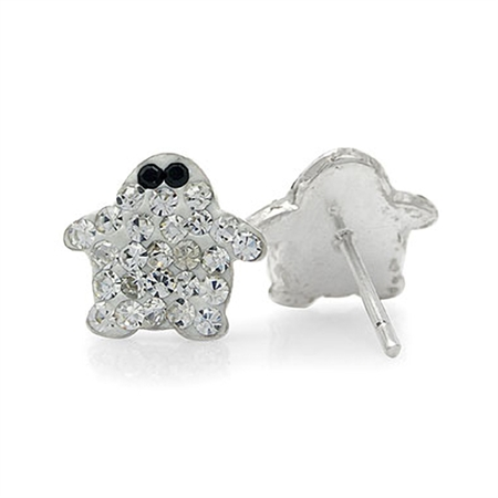 Black & White Crystal 925 Sterling Silver Penguin Stud Earrings