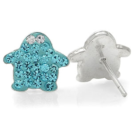 Topaz Blue & White Crystal 925 Sterling Silver Penguin Stud Earrings