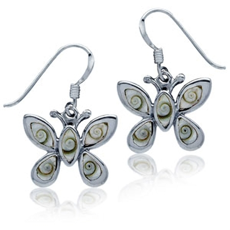 Shiva Shell Inlay Sterling Silver Butterfly Dangle Earrings
