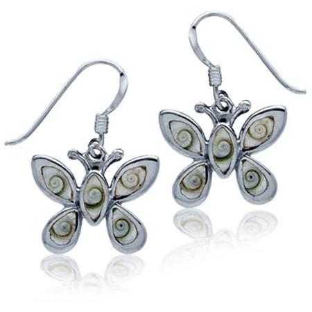 Shiva Shell Inlay Sterling Silver Butterfly Dangle Earrings