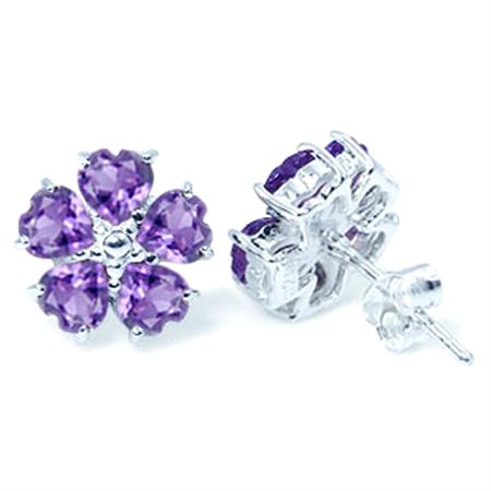 2.4ct. Natural Heart Shape Amethyst 925 Sterling Silver Flower Earrings