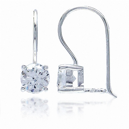 6MM Round Shape White CZ 925 Sterling Silver Closure Hook Earrings
