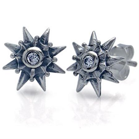 White CZ Sterling Silver Stud Earrings