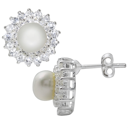 6MM Cultured Pearl & White CZ 925 Sterling Silver Stud Earrings