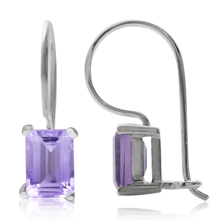 1.8ct. Natural Amethyst 925 Sterling Silver Hook Closure Earrings