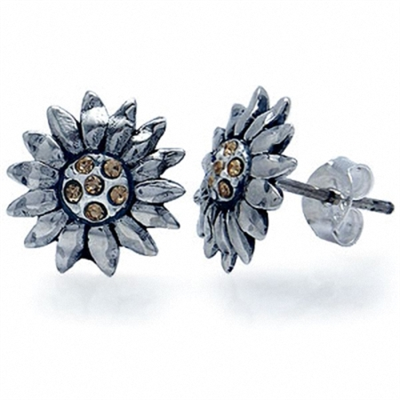 Yellow Crystal Sterling Silver Sunflower Stud Earrings
