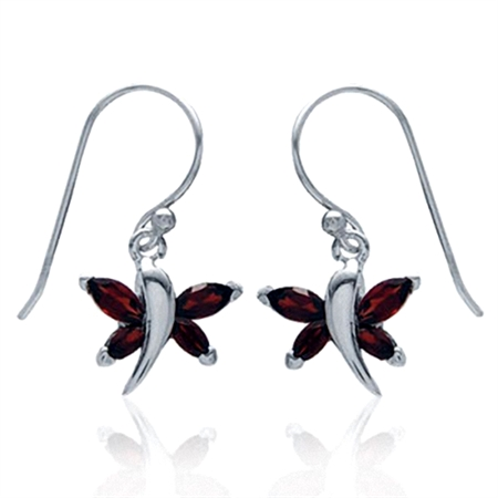 Natural January Birthstone Garnet 925 Sterling Silver Dragonfly Dangle Hook Earrings