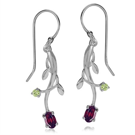 Natural Garnet & Peridot 925 Sterling Silver Vine Leaf Dangle Hook Earrings
