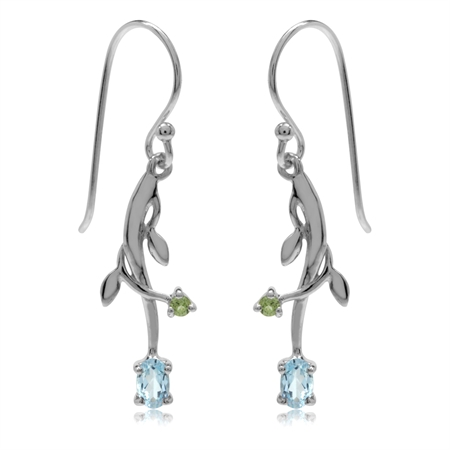 Genuine Blue Topaz & Peridot White Gold Plated 925 Sterling Silver Vine Leaf Dangle Hook Earrings