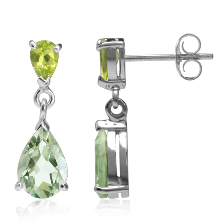 3.46ct. Natural Pear Shape Green Amethyst & Peridot 925 Sterling Silver Drop Dangle Earrings