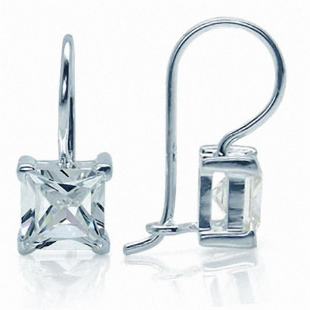 7MM White Cubic Zirconia (CZ) 925 Sterling Silver Hook Earrings