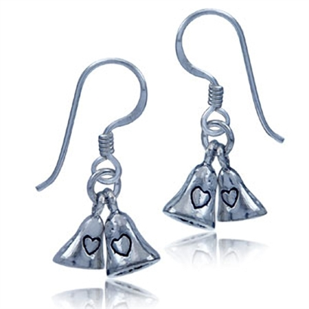 925 Sterling Silver Wedding Bell Dangle Earrings