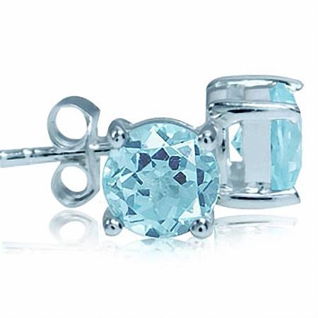 2.02ct. 6MM Genuine Round Shape Blue Topaz 925 Sterling Silver Stud Earrings