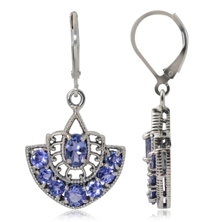 3.5ct. Genuine Tanzanite 925 Sterling Silver Filigree Leverback Dangle Earrings